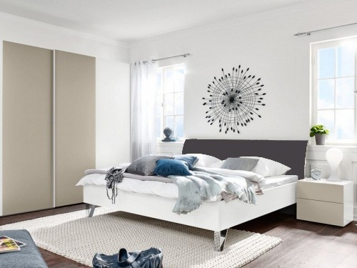 Drevená Shape 200x140 (biely, antracit lak ultramat, nohy chróm lesklý)