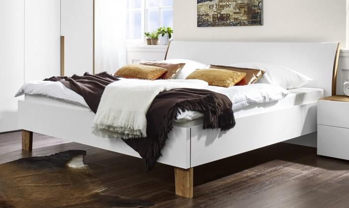 Drevená Shape - 200x160 (biely lak ultramat, drevené nohy)