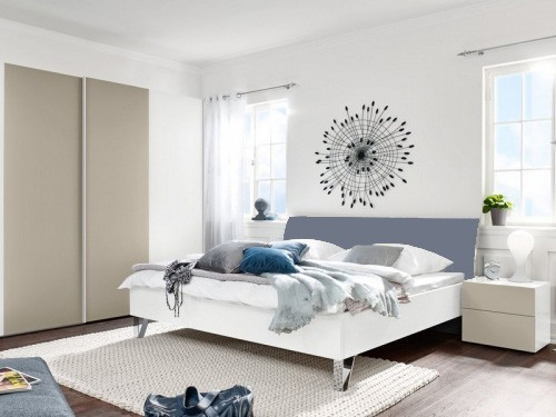 Drevená Shape 200x160 (biely, sivomodrý lak ultramat, nohy chróm lesklý)