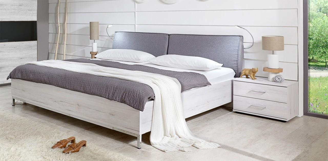 Drevená Sylt - Komplet, posteľ 180cm (dub biely, sivá)