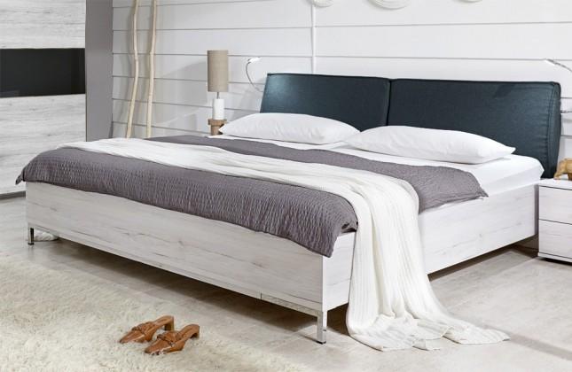 Drevená Sylt - Posteľ 160 cm (dub biely, antracit)
