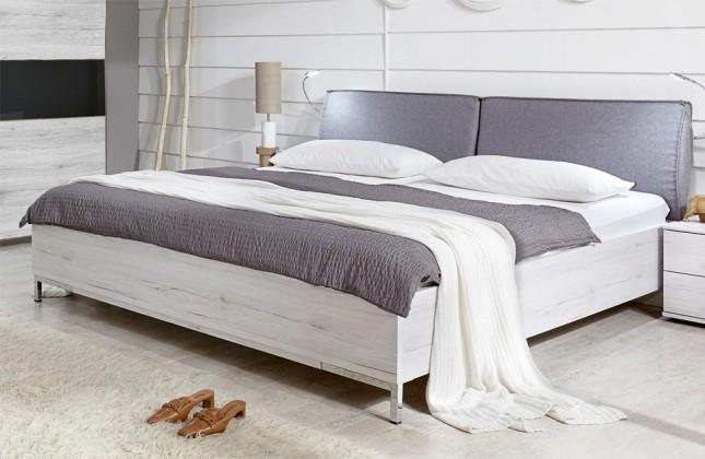 Drevená Sylt - Posteľ 180 cm (dub biely, sivá)