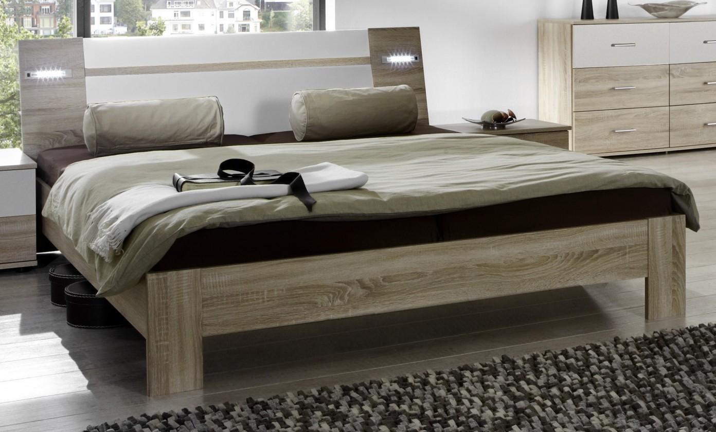 Drevená Vicenza - posteľ 160x200 cm (dub/alpská biela)