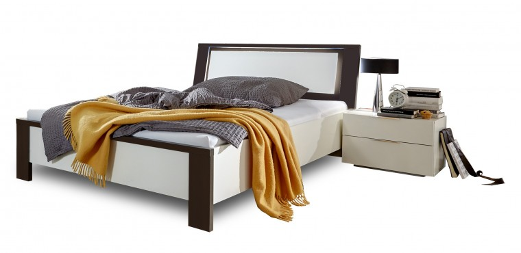 Drevená Viva - komplet, posteľ 140cm (aplská biela, lava čierna)