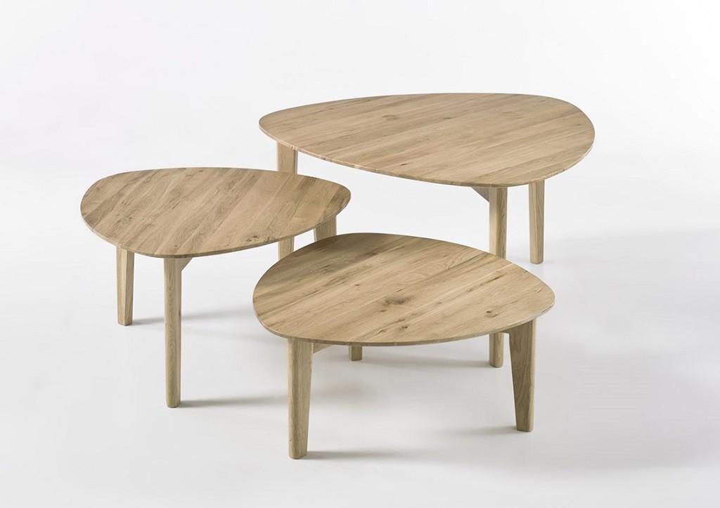 Drevené konferenčné stolíky Konferenčný stolík Freda - set 3 kusov (hnedá)