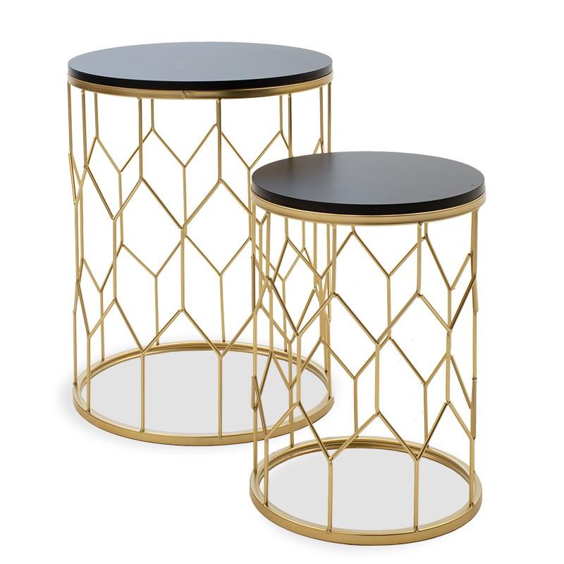 Drevené konferenčné stolíky Konferenčný stolík Golden - set 2 kusov (čierna, zlatá)