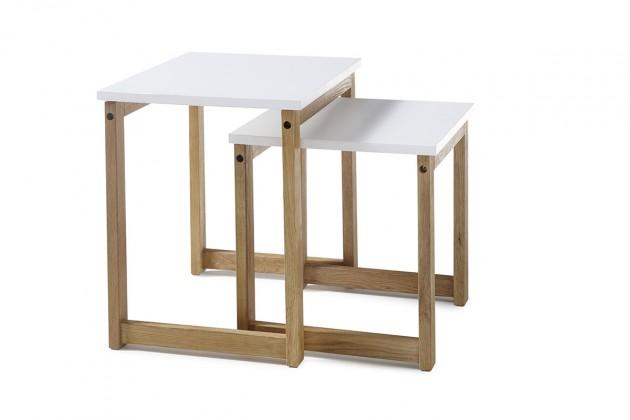 Drevené konferenčné stolíky Konferenčný stolík Juvena - set 2 kusov (biela)