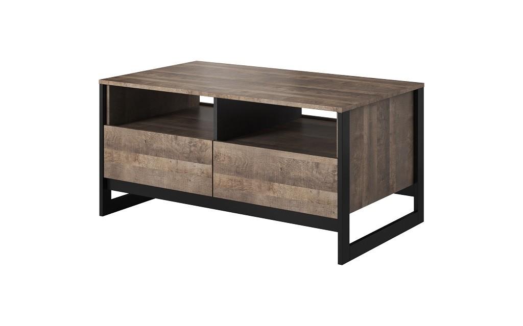 Drevené konferenčné stolíky Konferenčný stolík Laura (2xzásuvka,dub grande pieskový/matera)