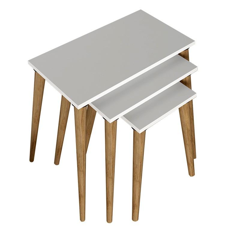 Drevené konferenčné stolíky Konferenčný stolík Marko - set 3 kusov (biela, hnedá)