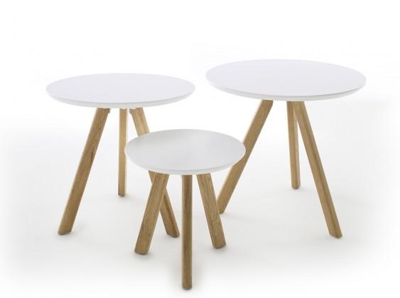 Drevené konferenčné stolíky Konferenčný stolík Modun - set 3 kusov (biela)