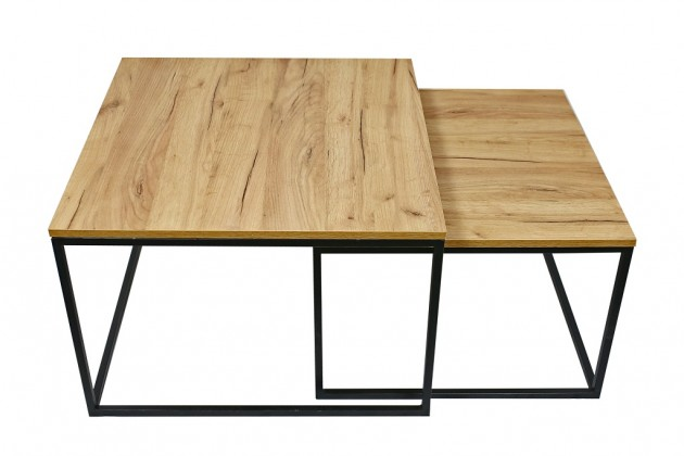 Drevené konferenčné stolíky Konferenčný stolík Ravelo - set 2 kusov (dub craft, čierna)