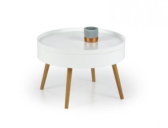 Drevené konferenčné stolíky Starlet - Konferenčný stolík (biela, dub sonoma)