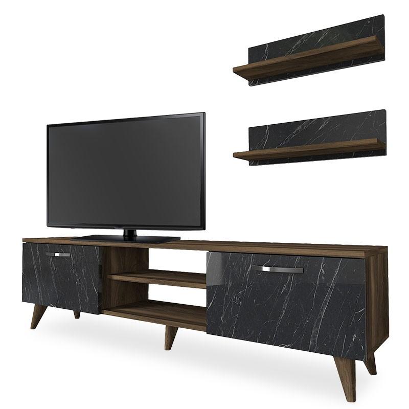 Drevené TV stolíky TV stolík a 2 police Sigur (čierna)