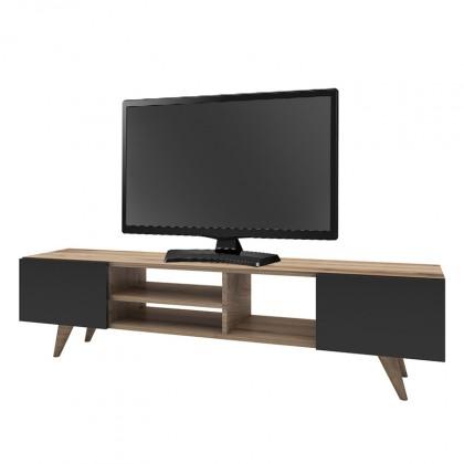 Drevené TV stolíky TV stolík Berg (orech, čierna)