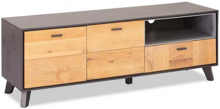 Drevené TV stolíky TV stolík Hakon (hnedá, sivá)
