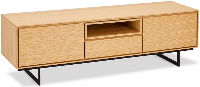 Drevené TV stolíky TV stolík Lure (1 zásuvka, 2x dvere, dub, čierna)