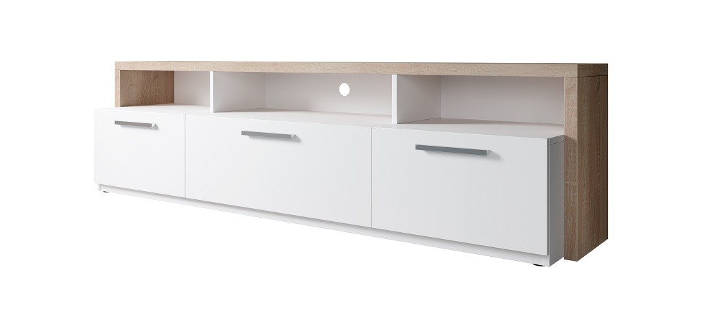 Drevené TV stolíky TV stolík Segan (dub sonoma, biela)