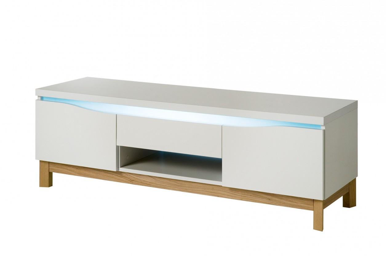 Drevený Almera - TV stolík (biela/dub)
