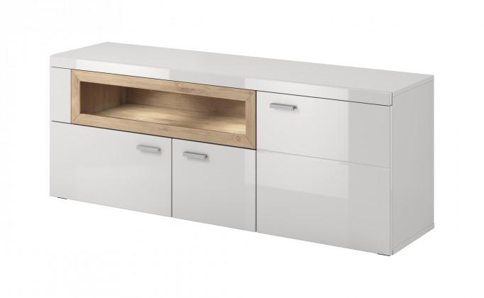 Drevený Box In - TV stolík (biely korpus/biely front, dub okraje)