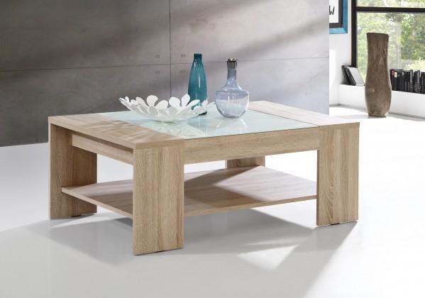 Drevený Brandy - Konferenčný stolík (dub sonoma/biele sklo)