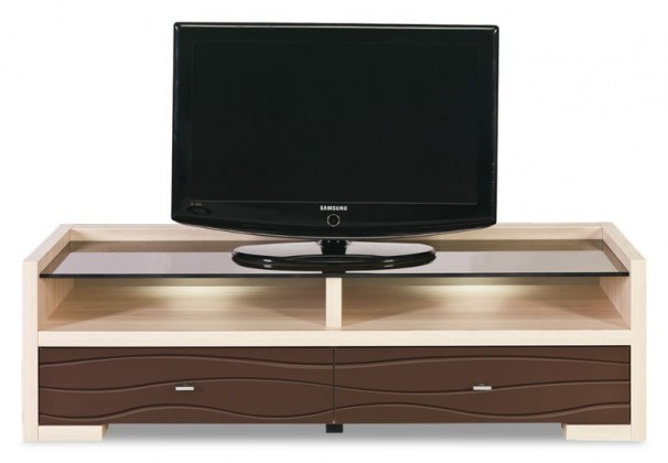 Drevený Cava - CV 2, TV stolík (thuje/metalic bronz)