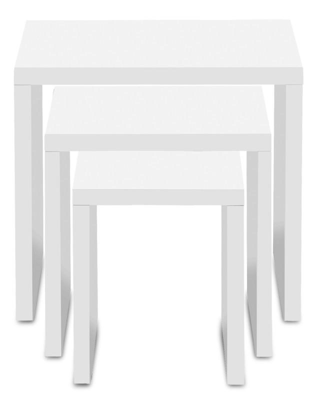 Drevený Cool - Konferenčný stolík 3ks sada (biela)