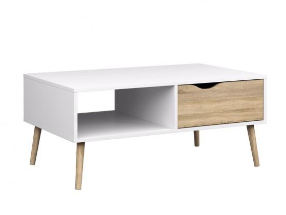Drevený Delta - konferenčný stolík (biela/dub)