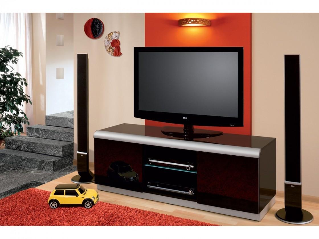 Drevený Denver 2 - TV stolík (čierna vysoký lesk)