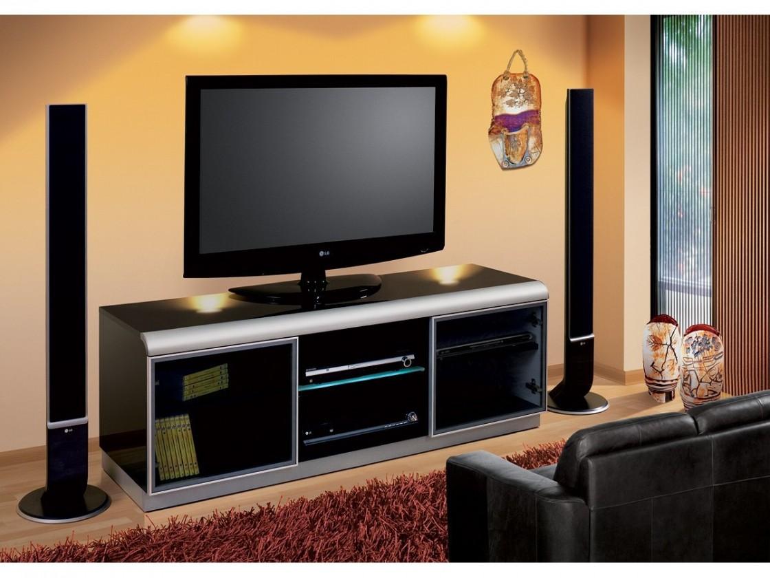 Drevený Denver - TV stolík (čierna vysoký lesk)