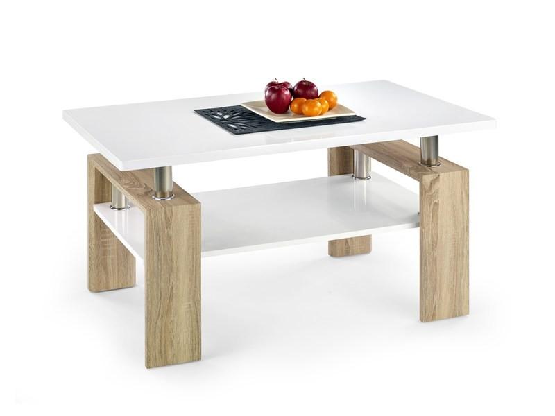 Drevený Diana - konferenčný stolík (doska,polica:biela/nohy:dub sonoma)