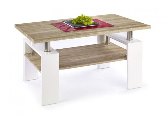 Drevený Diana - konferenčný stolík (doska,polica:dub sonoma/nohy:biela)