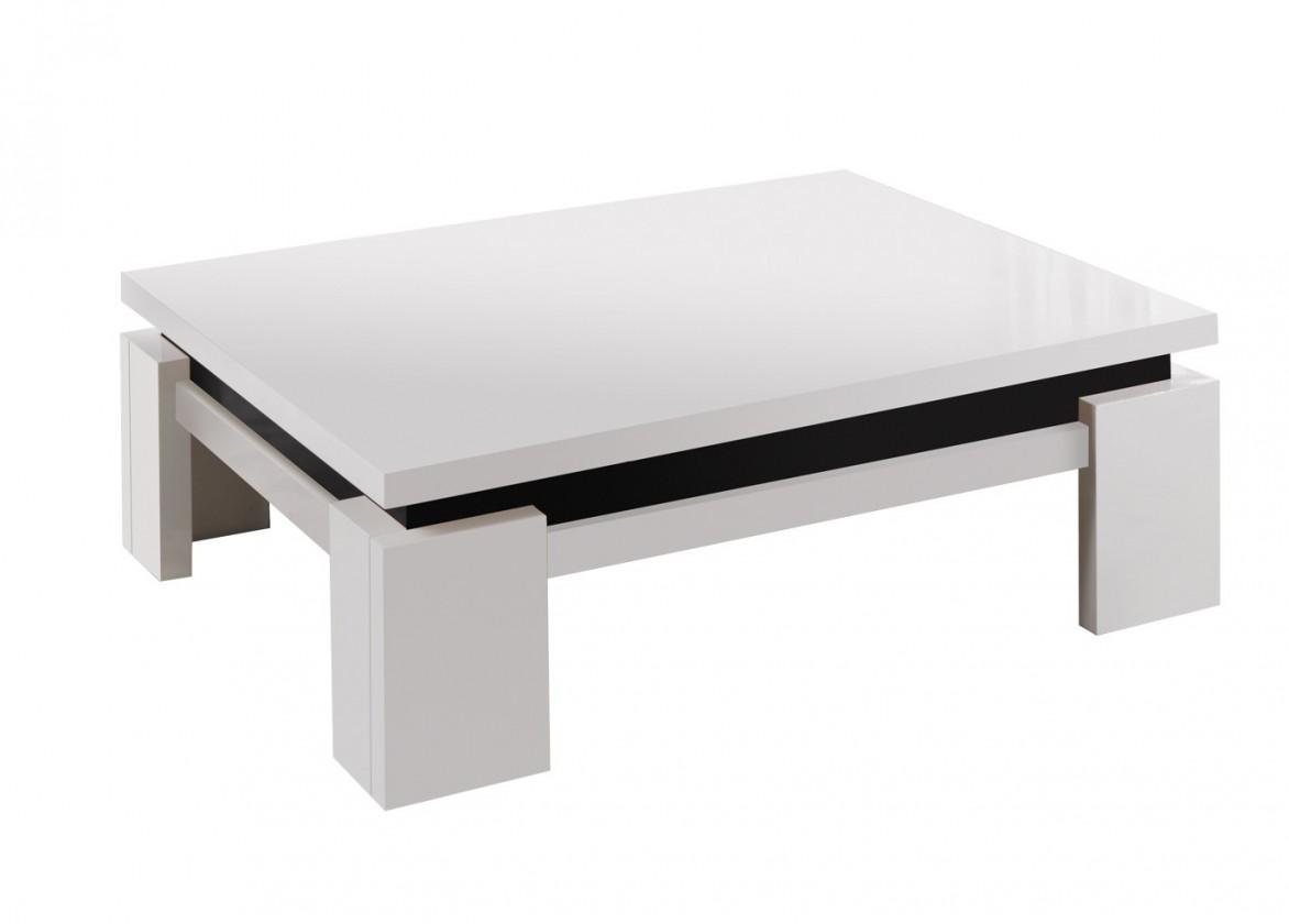 Drevený Diva - Konferenčný stolík, 4x nožičky (biela/čierna)