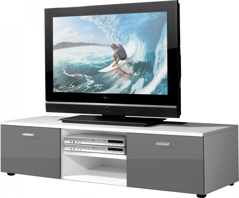 Drevený Easy - TV stolík, 3665-103 (biela/sivá vysoký lesk)