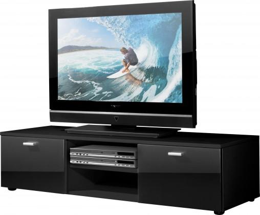 Drevený Easy - TV stolík, 3665-83 (čierna/čierna vysoký lesk)