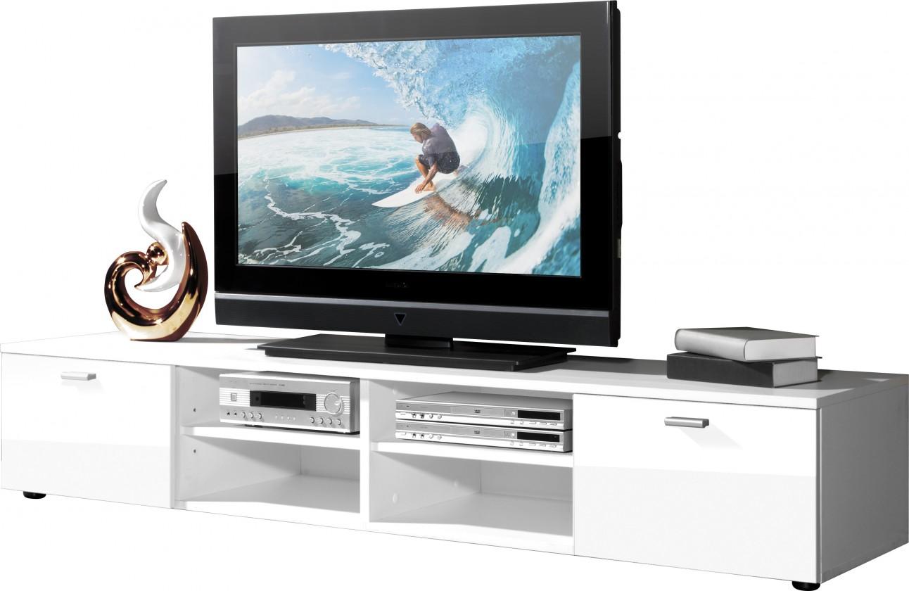 Drevený Easy - TV stolík, 3666-84 (biela/biela vysoký lesk)