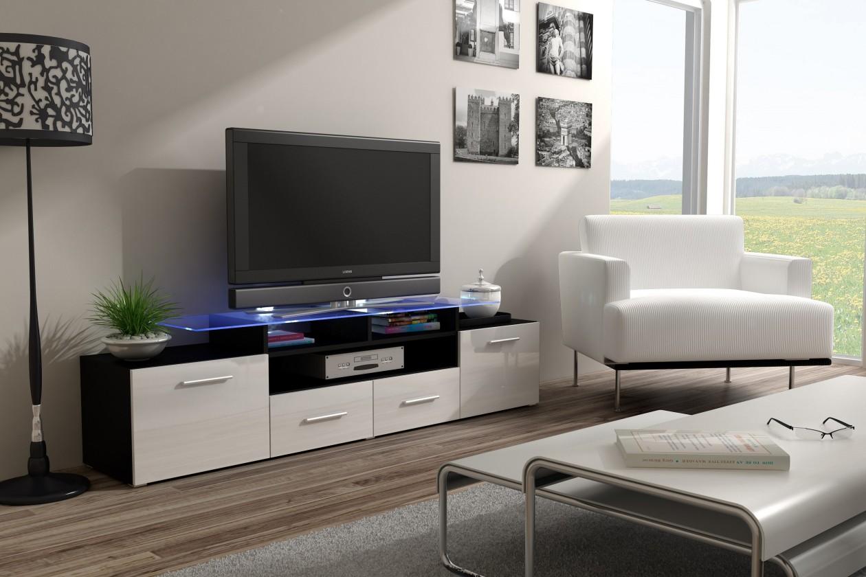 Drevený Evora - TV stolík (dekor korpusu - čierna)