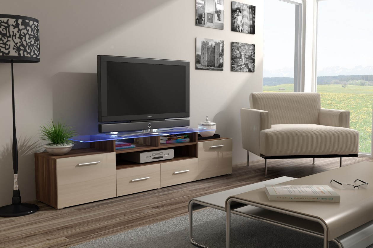 Drevený Evora - TV stolík (dekor korpusu - slivka)