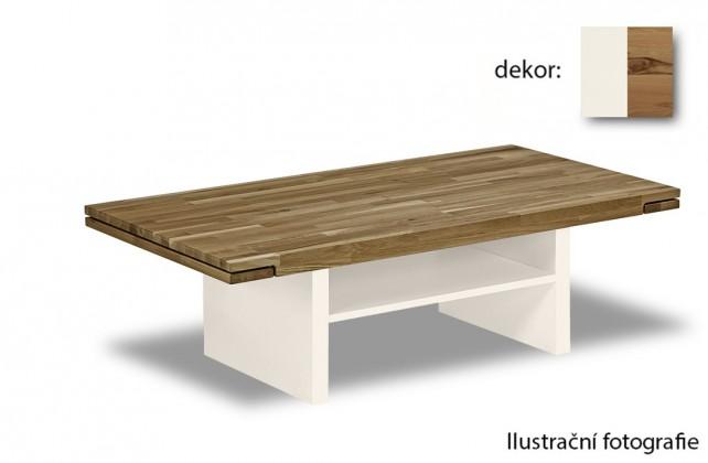 Drevený Feel - Konferenčný stolík s drevenú deskou (divoký buk/biela)