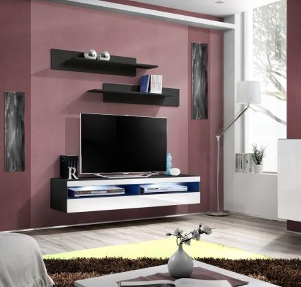 Drevený Fly - RTV, 1x dvere, 2x polica, LED (čierny mat/biely lesk)