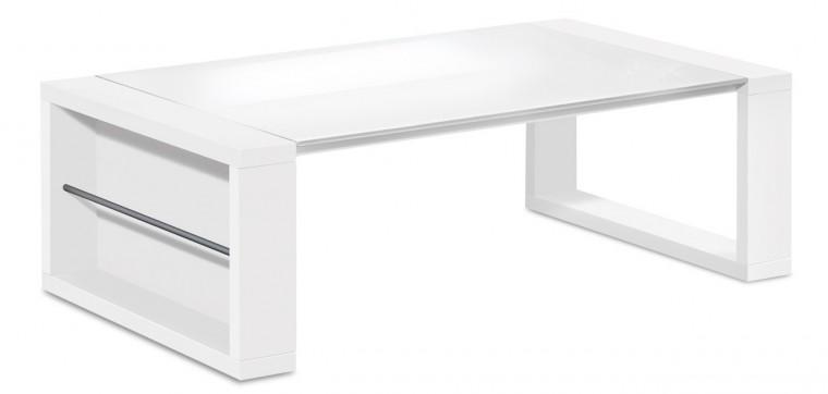 Drevený Game - konferenčný stolík (biela/sklo čisto biele)