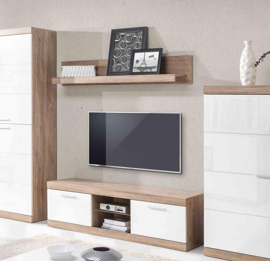 Drevený Gulio - TV komoda, LED osvetlenie (dub stirling/biely MDF lesk)