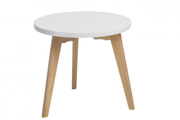 Drevený Konferenčný stolík Bergen - malý (biela doska/dub nohy)