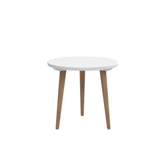Drevený Konferenčný stolík Bergen - stredný (biela doska/dub nohy)