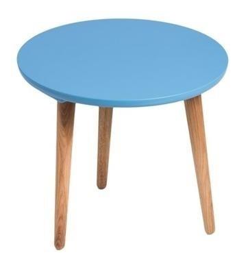 Drevený Konferenčný stolík Bergen - stredný (modrá doska/dub nohy)