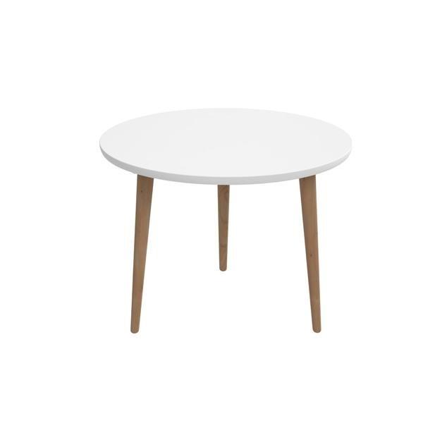 Drevený Konferenčný stolík Bergen - veľký (biela doska/dub nohy)