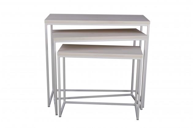 Drevený Konferenčný stolík Giewont - set 3 kusů (biela/javor)