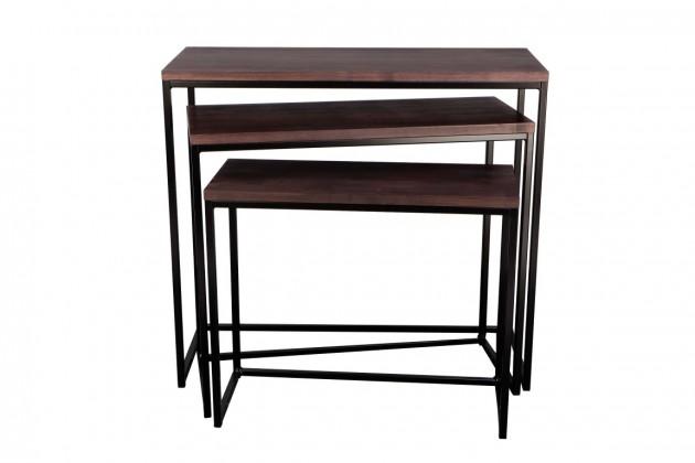 Drevený Konferenčný stolík Giewont - set 3 kusů (čierna/javor)