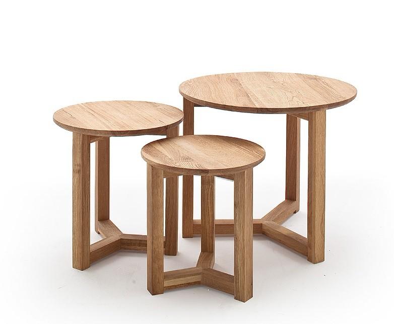 Drevený Konferenčný stolík Maude - set 3 kusov (hnedá)