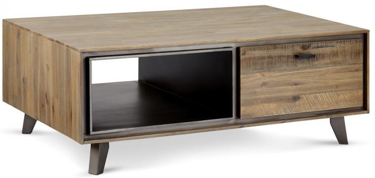 Drevený Konferenčný stolík Mety (1 zásuvka, drevo, hnedá)
