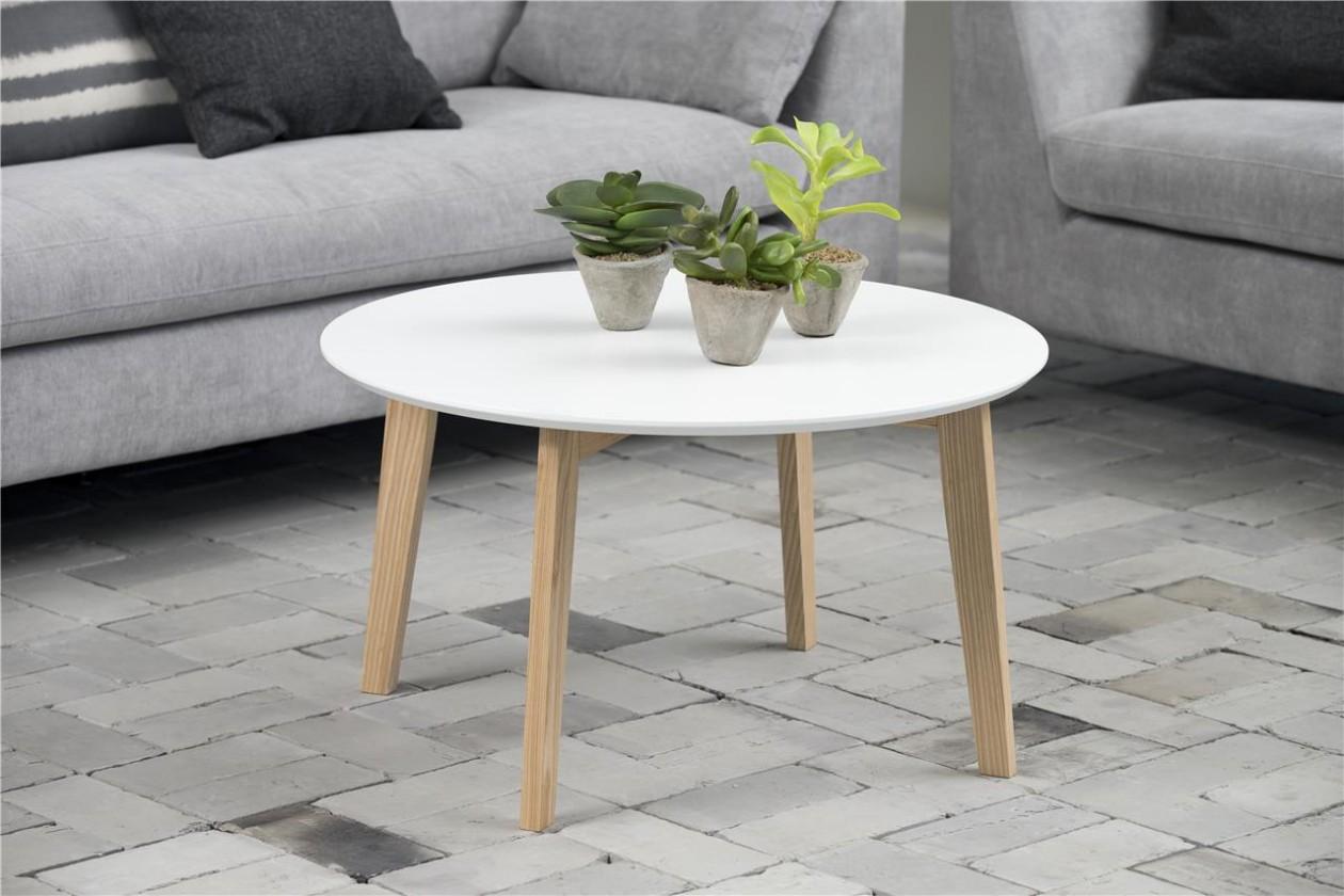 Drevený Konferenčný stolík Molina (biela doska/jasan nohy)